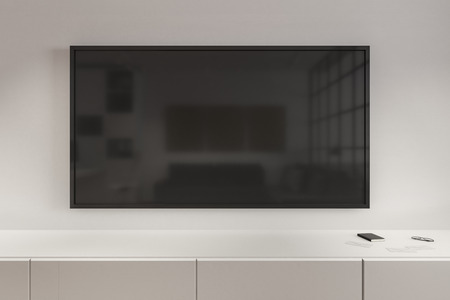 Close up of empty black TV with reflections in modern interior. Ad and commercial concept. Mock up, 3D Rendering Фото со стока