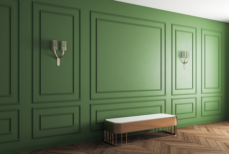Classic green room with bench and lamps. Mock up, 3D Rendering