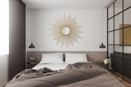 Contemporary bedroom interior with decorative circle. 3D Rendering Imagens