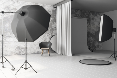 White loft photo studio interior with professional equipment and background. 3D Rendering
