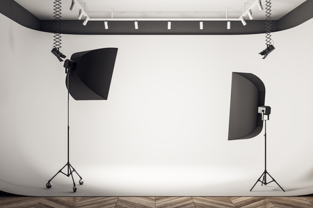 Clean photo studio interior with professional equipment and background. 3D Rendering Stok Fotoğraf
