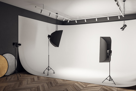 White photo studio interior with professional equipment and background. 3D Rendering Stok Fotoğraf