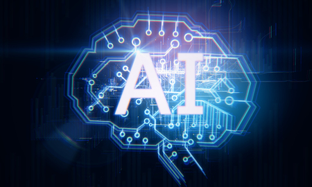 Creative digital AI brain on dark background. Artificial intelligence and innovate concept. 3D Rendering