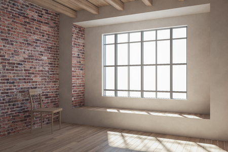 Bright loft red brick interior with window and sunlight. 3D Rendering