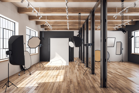 Contemporary loft photo studio interior with professional equipment and background. 3D Rendering