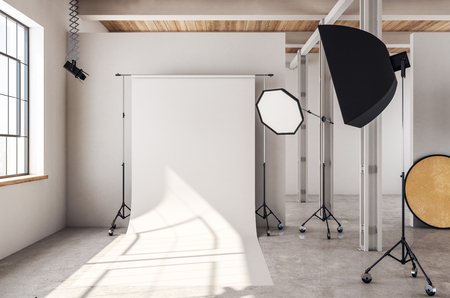 Modern photo studio interior with copy space on white background equipment and daylight. Mock up, 3D Rendering Imagens