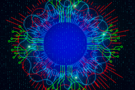 Abstract glowing digital circle on dark background with binary code. 3D Rendering