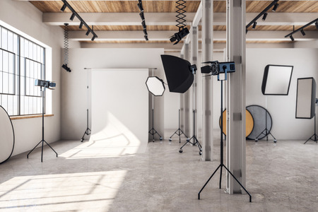 Concrete loft photo studio interior with professional equipment and background. 3D Rendering Stok Fotoğraf