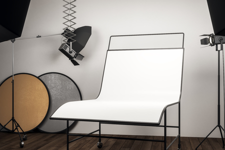 Clean photo studio interior with professional equipment and empty white background table. Mock up, 3D Rendering