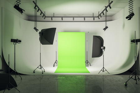 Modern loft photo studio interior with professional equipment and bright green background. 3D Rendering Stok Fotoğraf