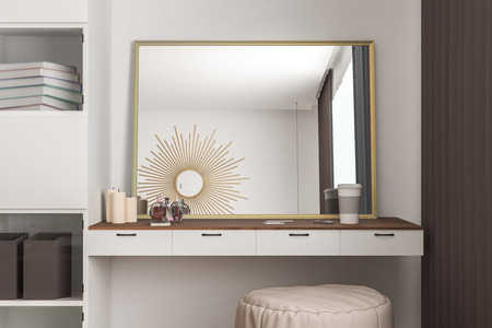 Modern bedroom interior with female dressing table, mirror and small items. 3D Rendering Stockfoto - 118037098
