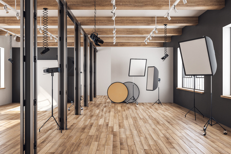 Bright loft photo studio interior with professional equipment and background. 3D Rendering Stok Fotoğraf
