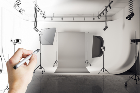 Hand drawing creative photo studio. Design and engineering concept. 3D Rendering