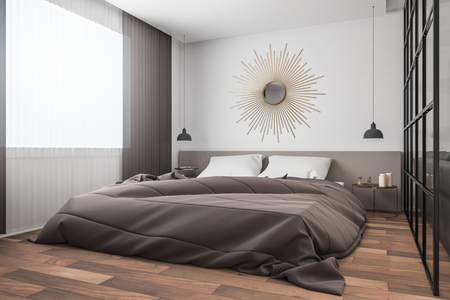 Modern bedroom interior with decorative circle. 3D Rendering