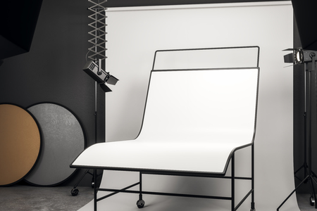 Light photo studio interior with professional equipment and empty white background table. Mock up, 3D Rendering