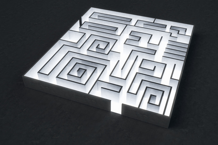 Abstract labyrinth backdrop. Challenge and risk concept. 3D Rendering
