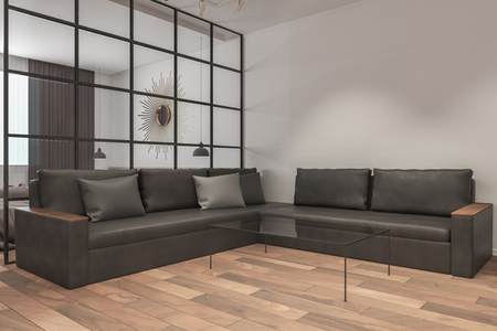 contemporary living room interior with empty copy space, leather