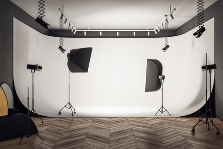 Contemporary photo studio interior with professional equipment and background. 3D Rendering