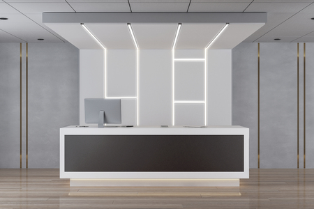 Reception desk in bright lobby interior. 3D Rendering Archivio Fotografico - 118786816
