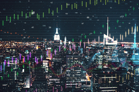 Night New York city wallpaper with forex chart. Invest and trade concept. Double exposure