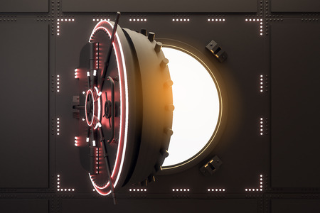 Glowing open black safe door. Protection and safety concept. 3D Rendering