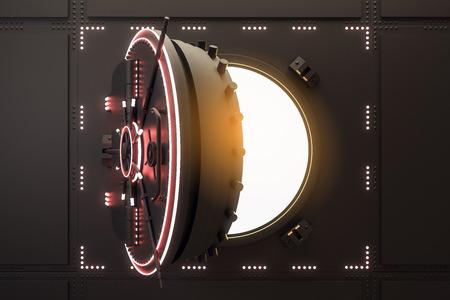 Porta della cassaforte nera aperta incandescente. Protezione e concetto di sicurezza. Rendering 3D Archivio Fotografico