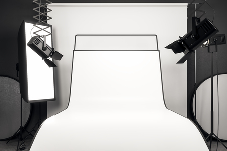 Luxury photo studio interior with professional equipment and empty white background table. Mock up, 3D Rendering