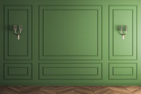 Interni verdi classici con parete vuota e lampade. Mock up, rendering 3D