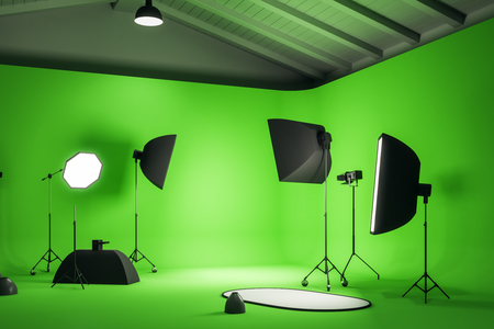 Green photo studio interior with professional equipment. Photography and design concept. 3D Rendering Reklamní fotografie
