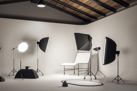 New concrete photo studio interior with professional equipment. Photography and design concept. 3D Rendering