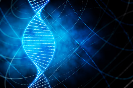 Creative glowing DNA wallpaper with lines. Medicine, ai and future concept. 3D Rendering Stock Photo