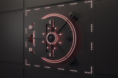 Porta della cassaforte nera chiusa creativa. Protezione e concetto di sicurezza. Rendering 3D Archivio Fotografico