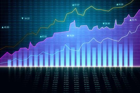 Creative forex chart wallpaper. Finance and invest concept. 3D Rendering Reklamní fotografie