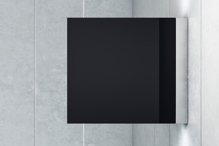 Empty square shiny black banner on light background. Mock up, 3D Rendering Stock Photo