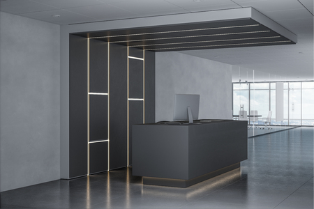 Side view of reception desk in concrete lobby interior with city view and daylight. 3D Rendering