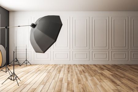 Light classic photo studio interior with professional equipment. Photography and design concept. 3D Rendering