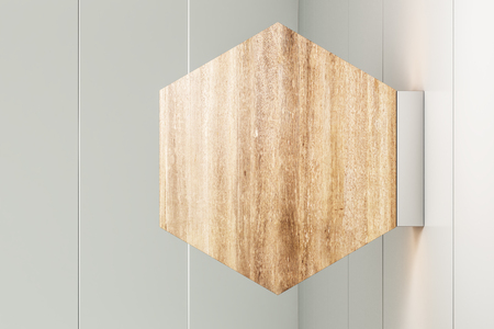 Empty rhombus wooden banner on light background. Mock up, 3D Rendering