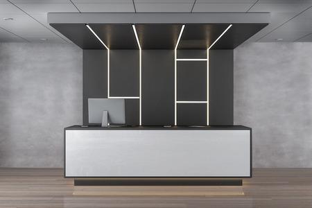 Reception desk in concrete lobby interior. 3D Rendering Banco de Imagens