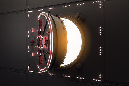 Abstract open black safe door. Protection and safety concept. 3D Rendering