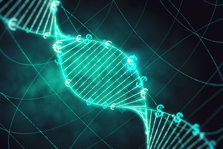 Creative glowing DNA background with dollar signs. Medicine, ai and future concept. 3D Rendering