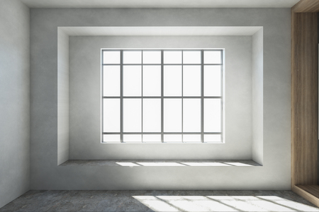 Empty interior with window, daylight, concrete wall and floor. Design concept. 3D Rendering