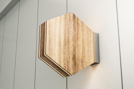 Empty rhombus wooden stopper on light background. Mock up, 3D Rendering