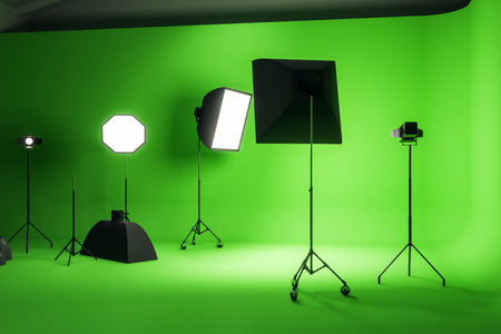 Bright green photo studio interior with professional equipment. Photography and design concept. 3D Rendering