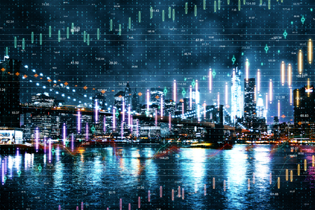 Night New York city background with forex chart. Invest and trade concept. Double exposure