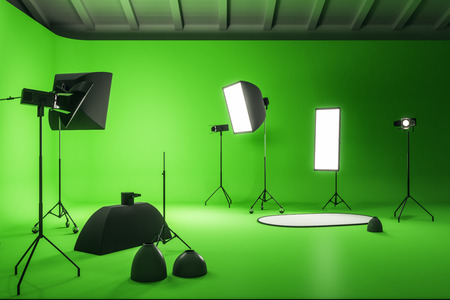 Creative green photo studio interior with professional equipment. Photography and design concept. 3D Rendering