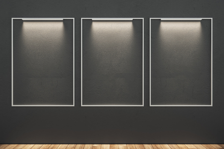 Blank illuminated banners in modern interior. Mock up, 3D Rendering 스톡 콘텐츠