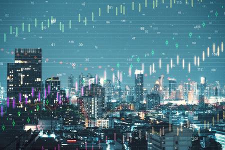 Night New York city backdrop with forex chart. Invest and trade concept. Double exposure