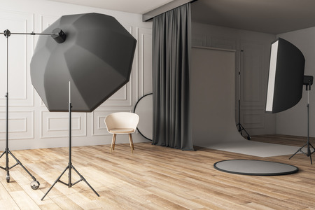 Luxury concrete photo studio interior with professional equipment. Photography and design concept. 3D Rendering