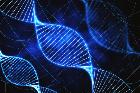 Creative glowing DNA backdrop with lines. Medicine, ai and future concept. 3D Rendering