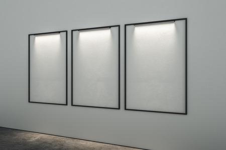 Empty illuminated billboards in modern interior. Mock up, 3D Rendering